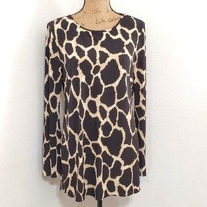 Nina Leonard•animal print l/s tunic top•👚